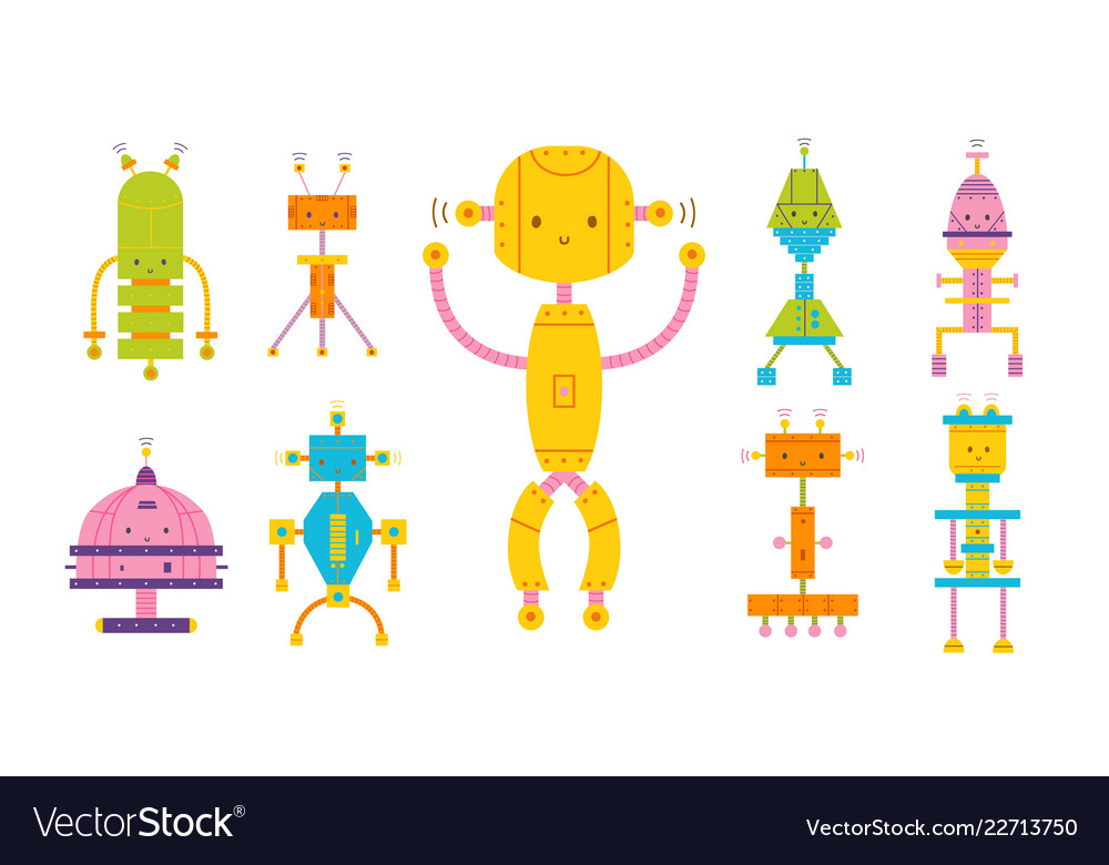 Bundle of colored adorable happy robots isolated