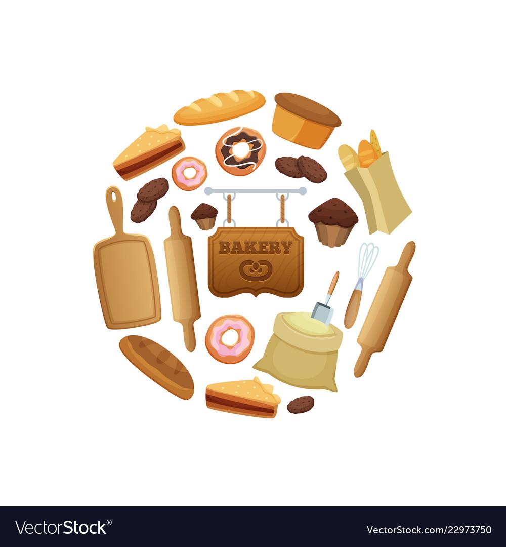 Cartoon bakery in circle shape
