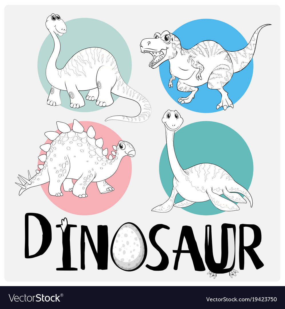 Coloring Template With Four Dinosaurs Royalty Free Vector