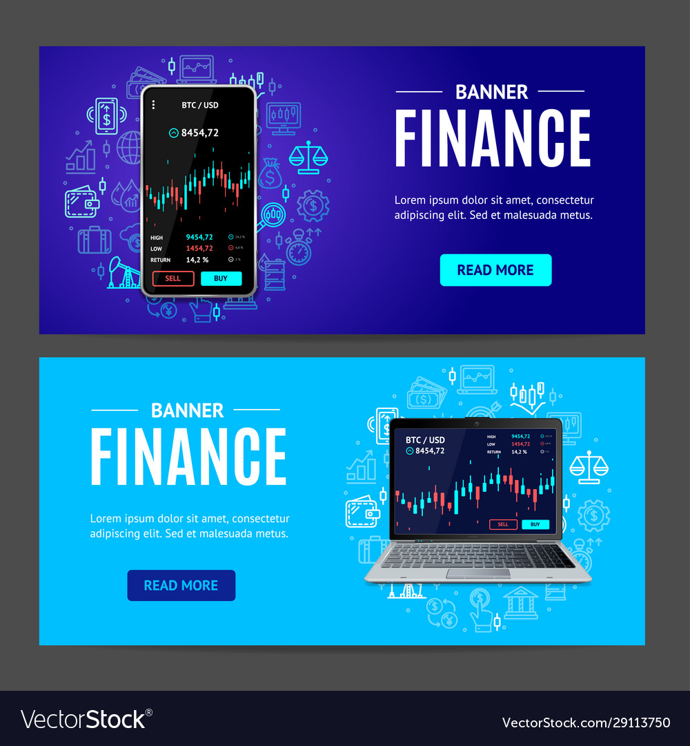 Finance concept banner horizontal set