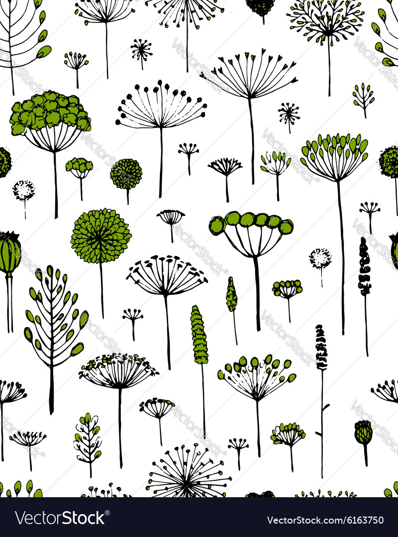 Floral seamless pattern sketch fro your design vector image