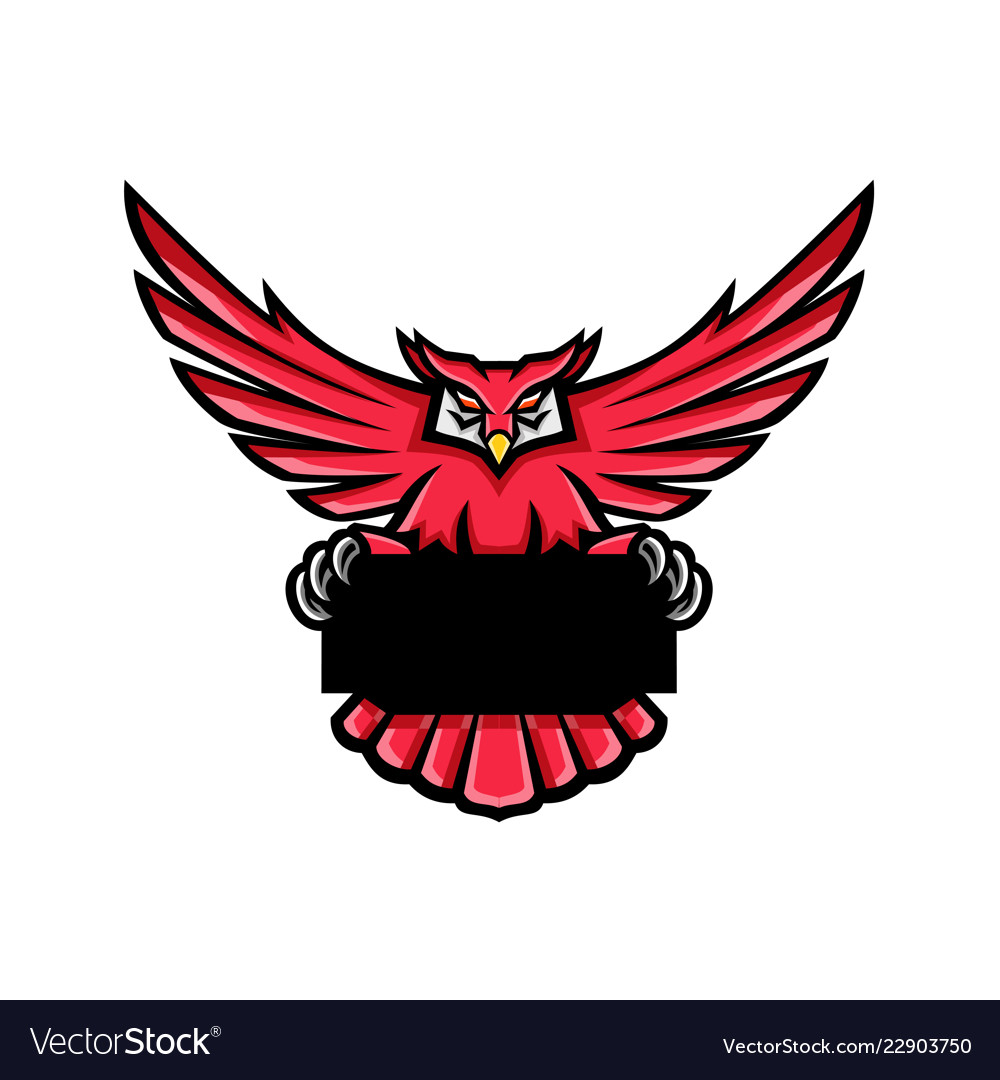 Great horned owl spreading wings banner mascot