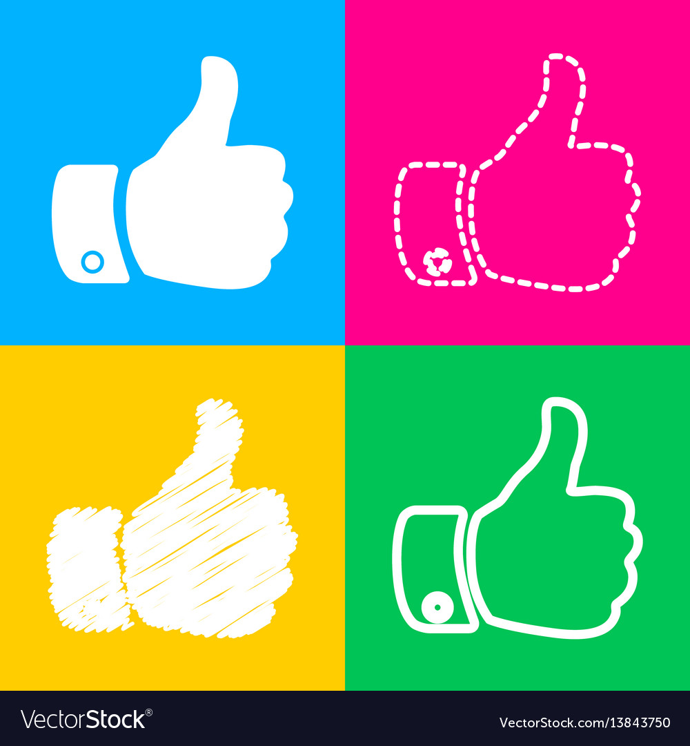 Hand sign four styles of icon on