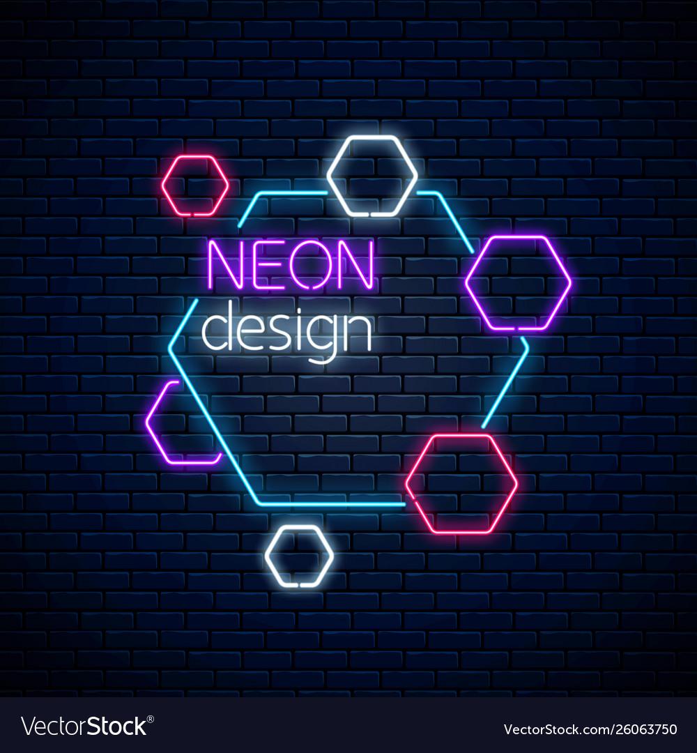 Neon abstract glowing design on dark brick wall