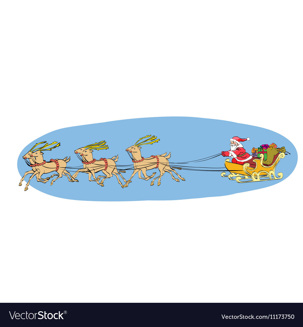 Reindeer sled carries Santa Claus on a sleigh vector image