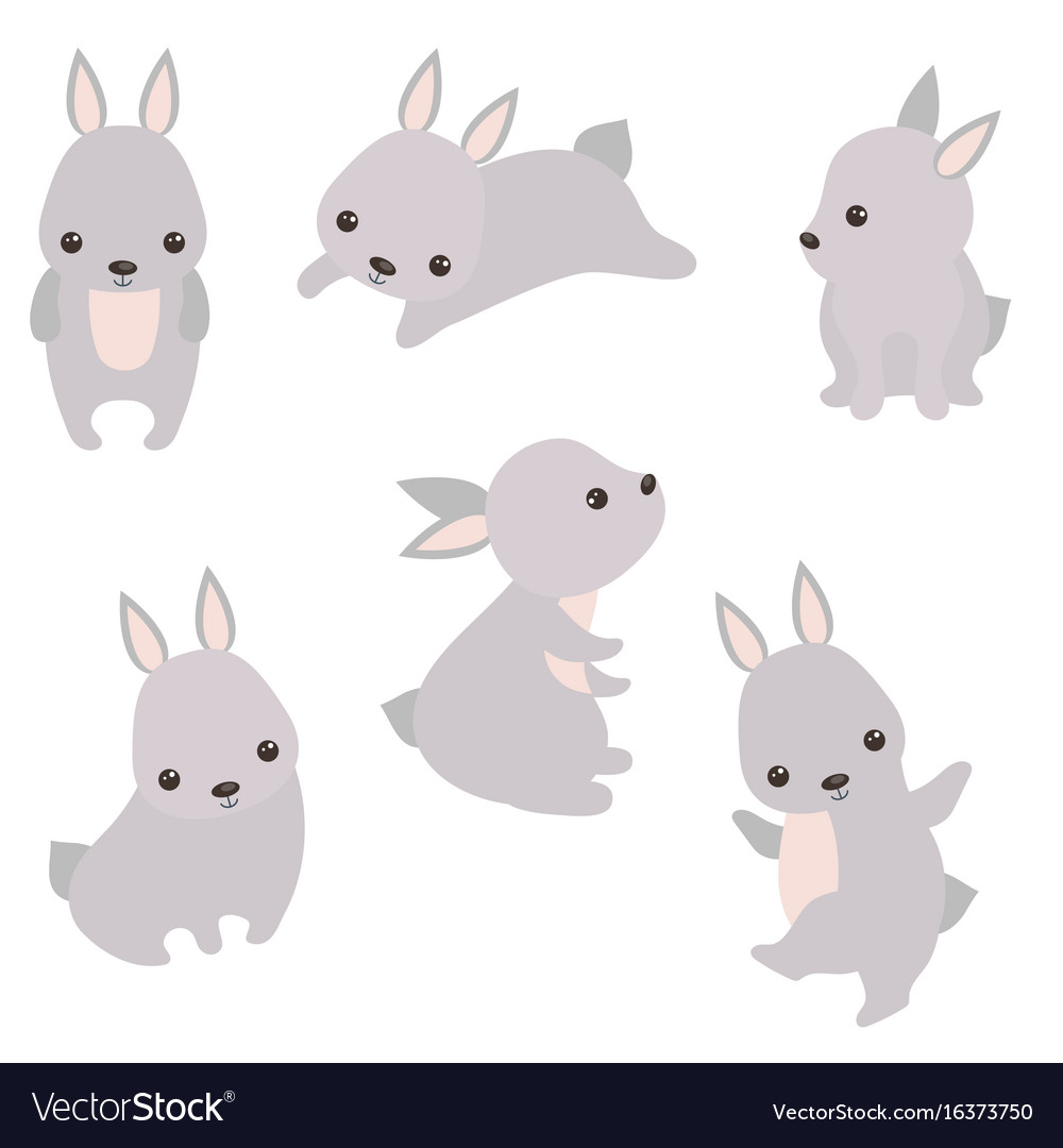 Set of cute hares set of cute hares vector image