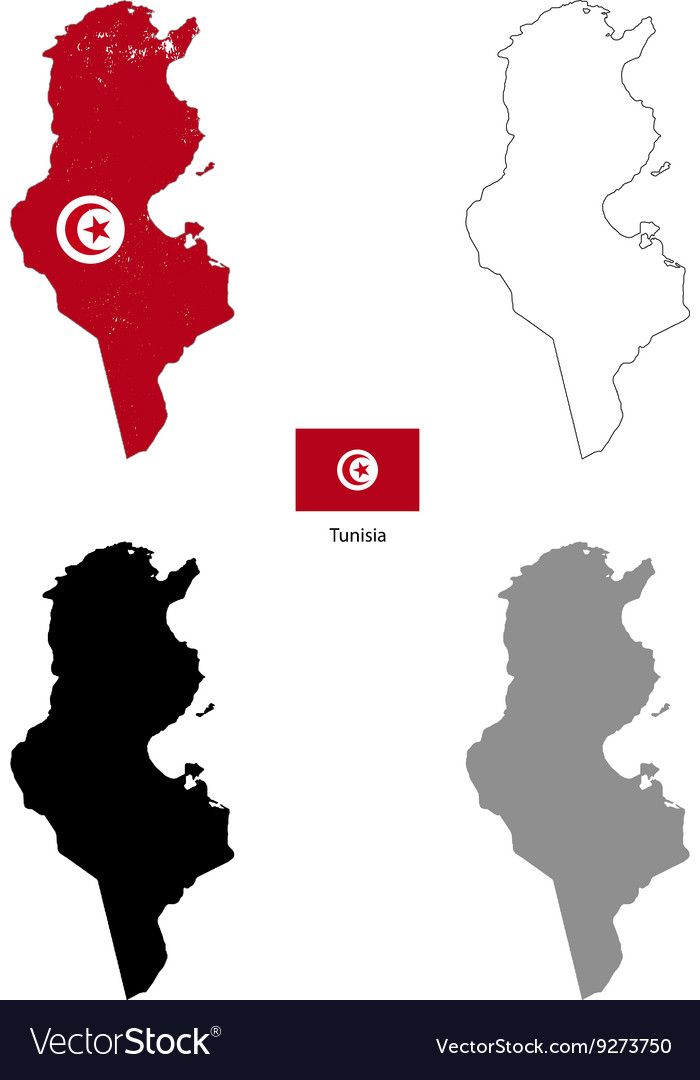 Tunisia country black silhouette and with flag on