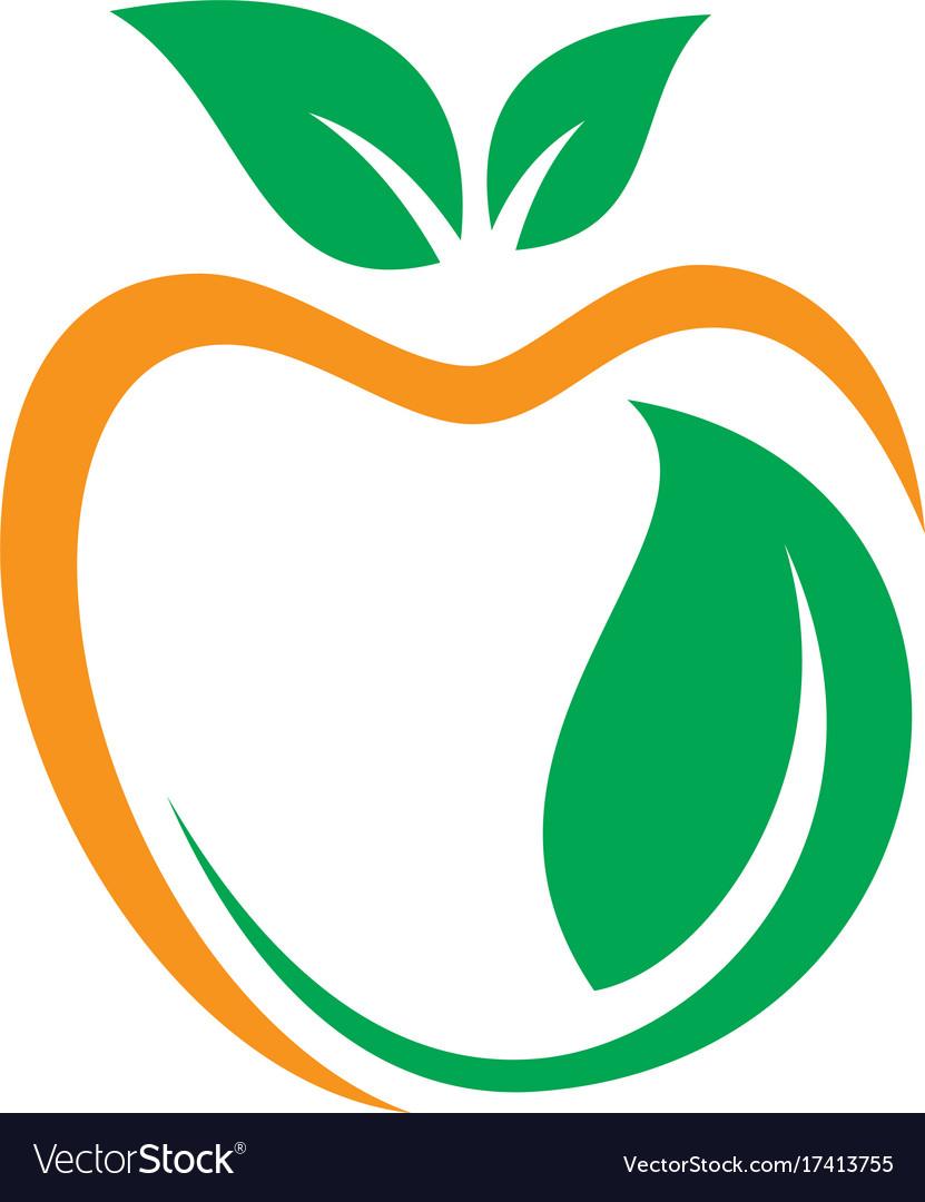Apple leaf eco logo vector image