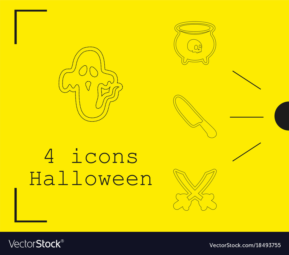 Collection of 4 halloween icons in thin line style
