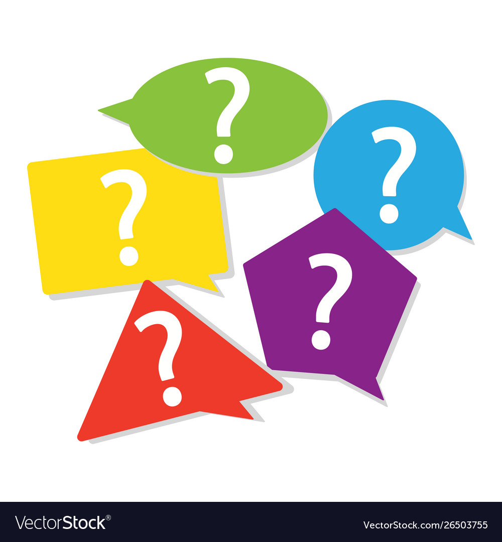 Color geometric question mark sign in speech