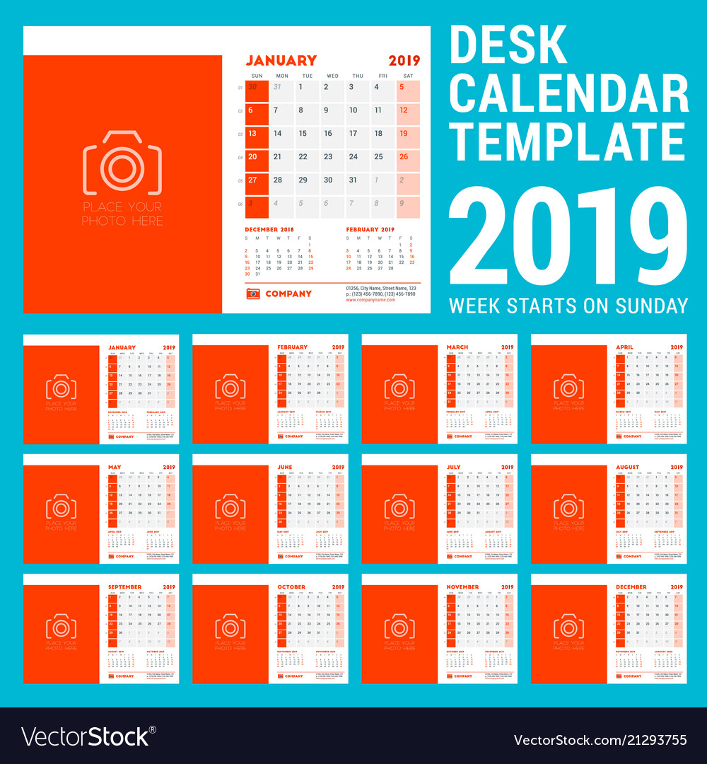 Desk Calendar Design Template For 2019 Year Week Vector Image