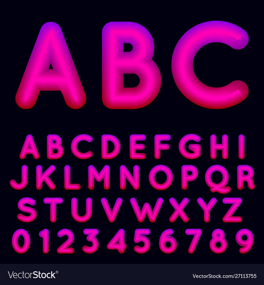 Fluid shapes font with hipster colors