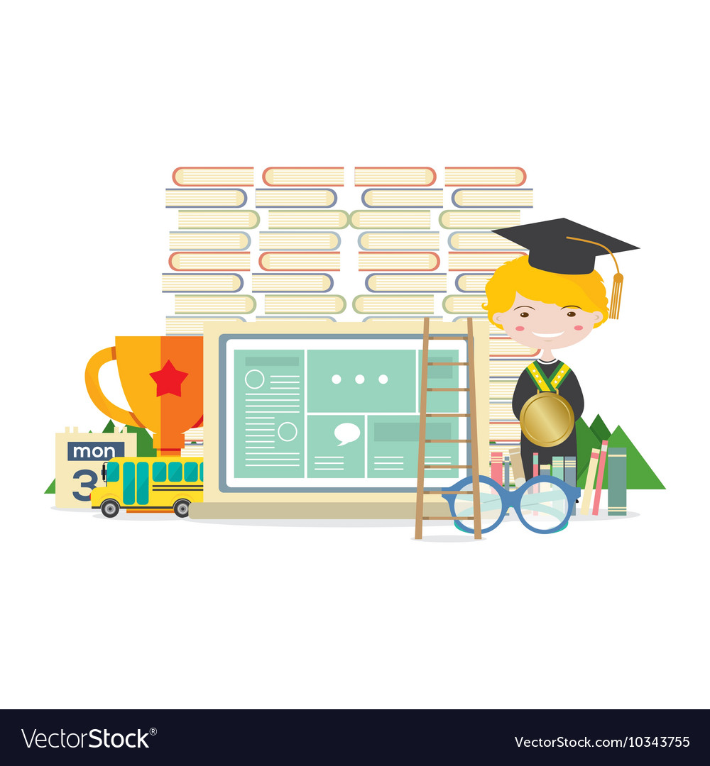 Happy Student With Books Trophy Education Concept vector image