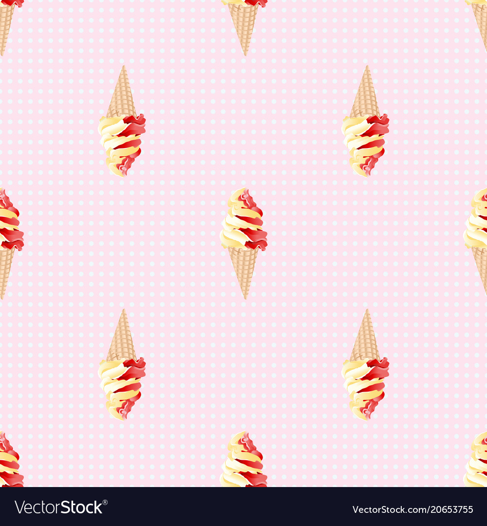 Ice cream and polka dot seamless pattern vector image