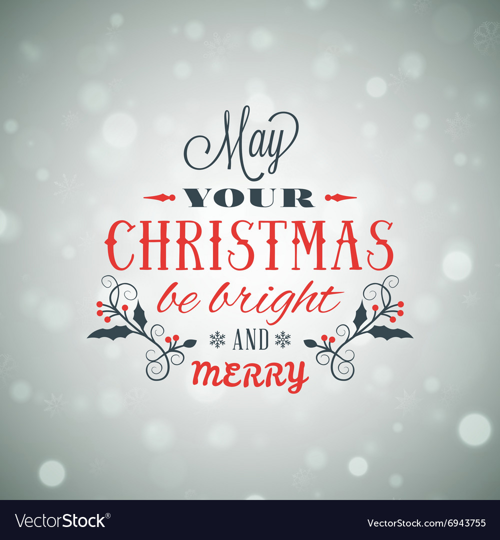 Merry Christmas Greeting Card Vintage Typographic