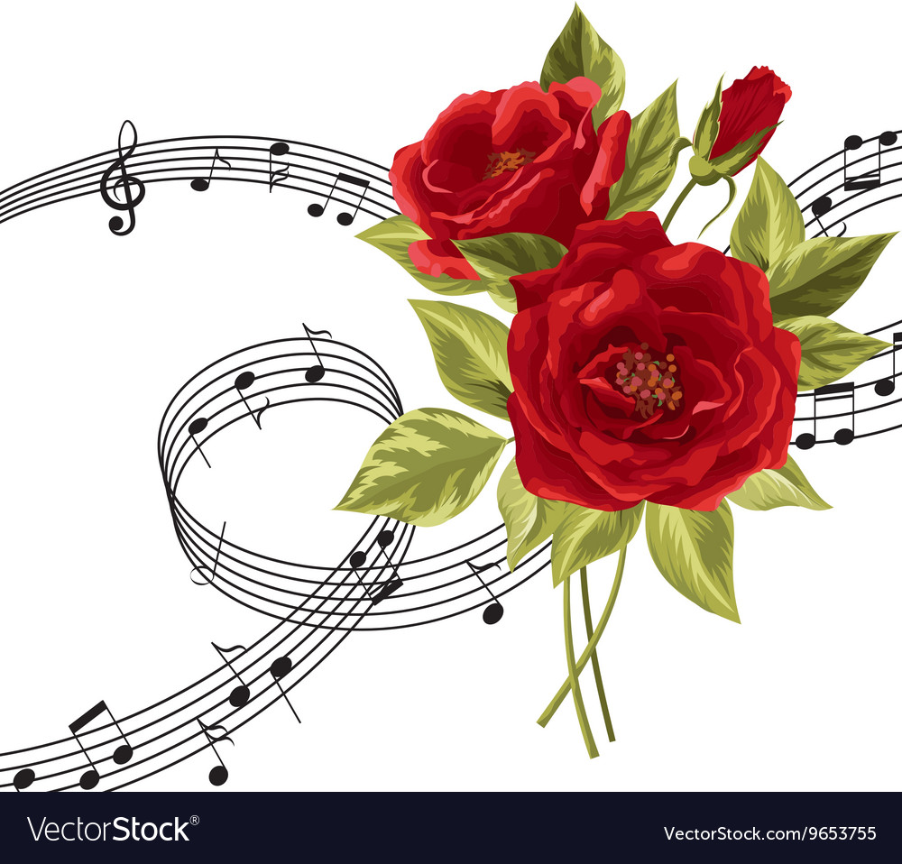 Red roses with music notes