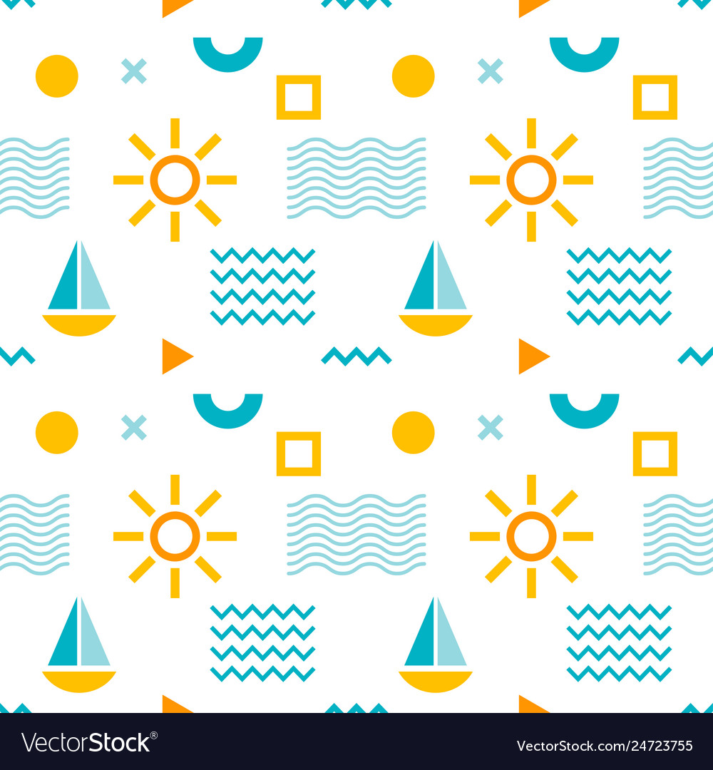 Seamless abstract pattern with sun boat and