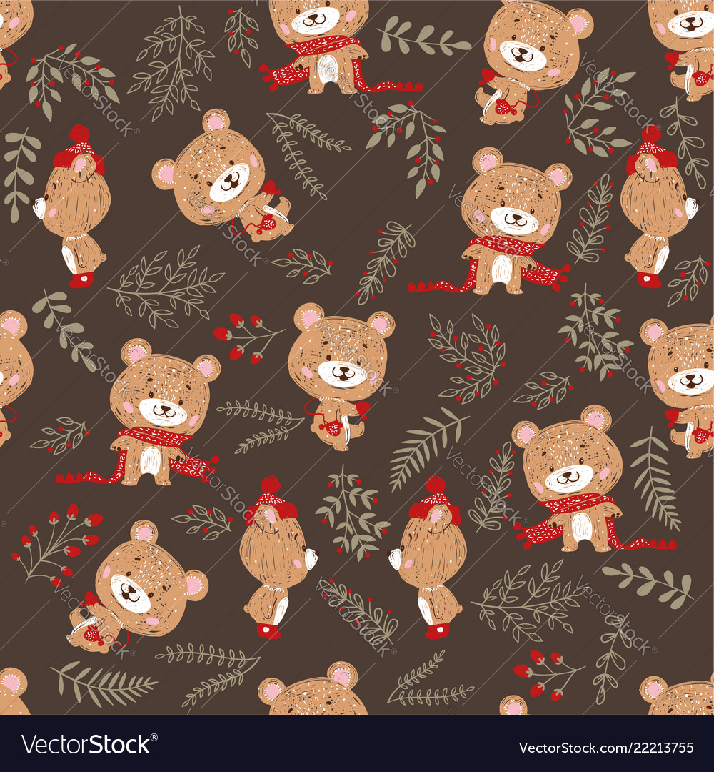 Seamless pattern with cute bear in scarf and hat vector