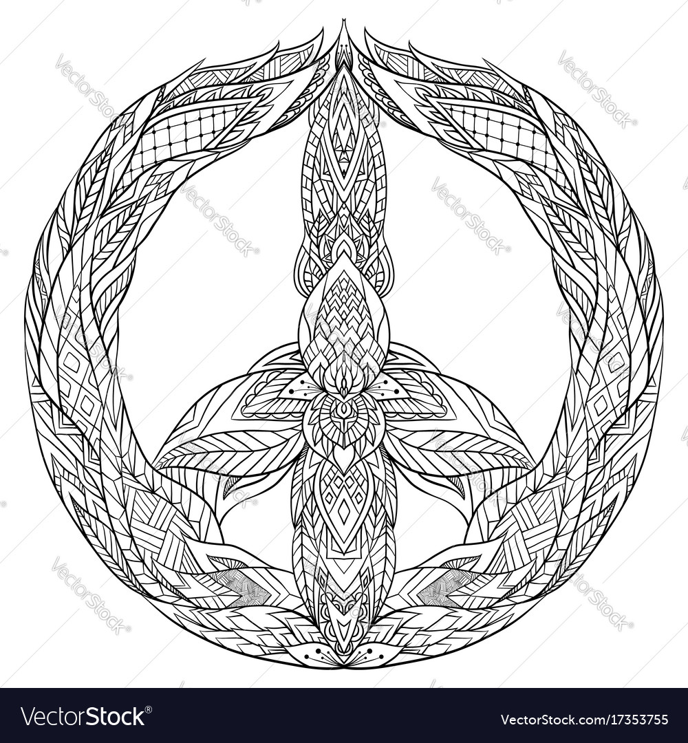 Sign of peace with a boho pattern vector image