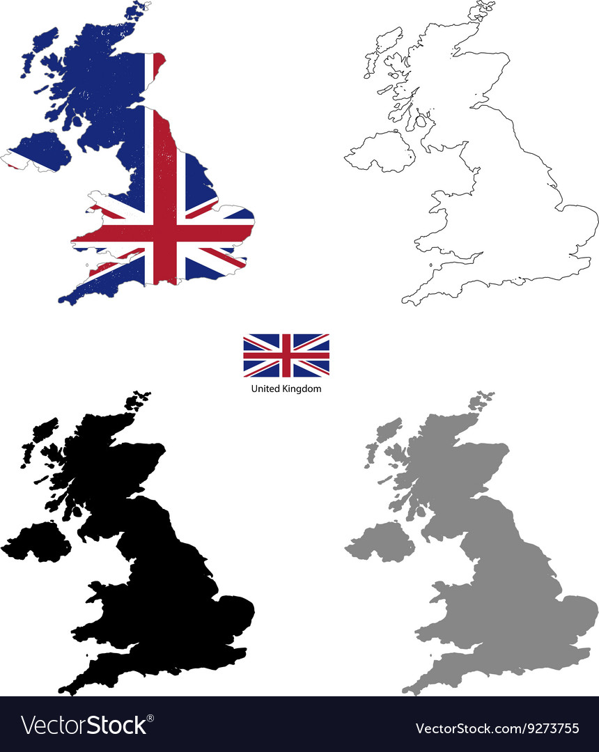 United Kingdom country black silhouette and with