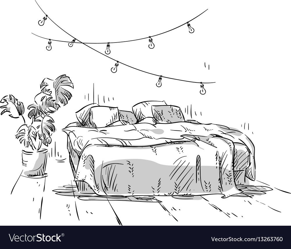 Bedroom Drawing Interior Design Royalty Free Vector Image