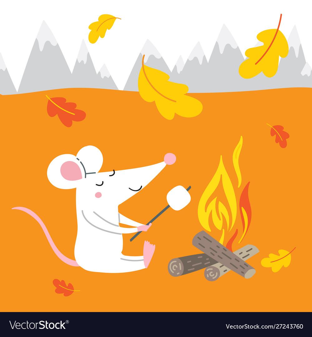 Cute rat on autumn vacation