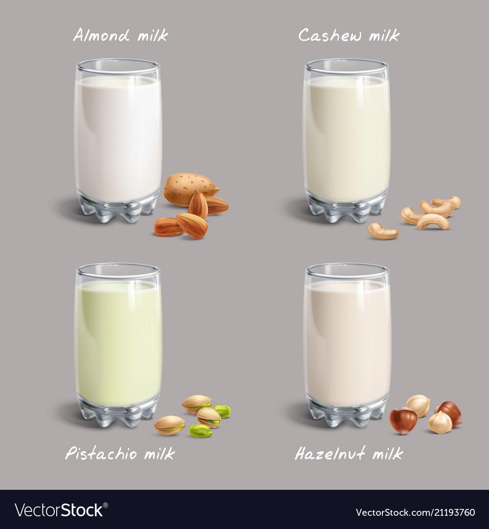 Different types of non-dairy milk vegan nut-milk