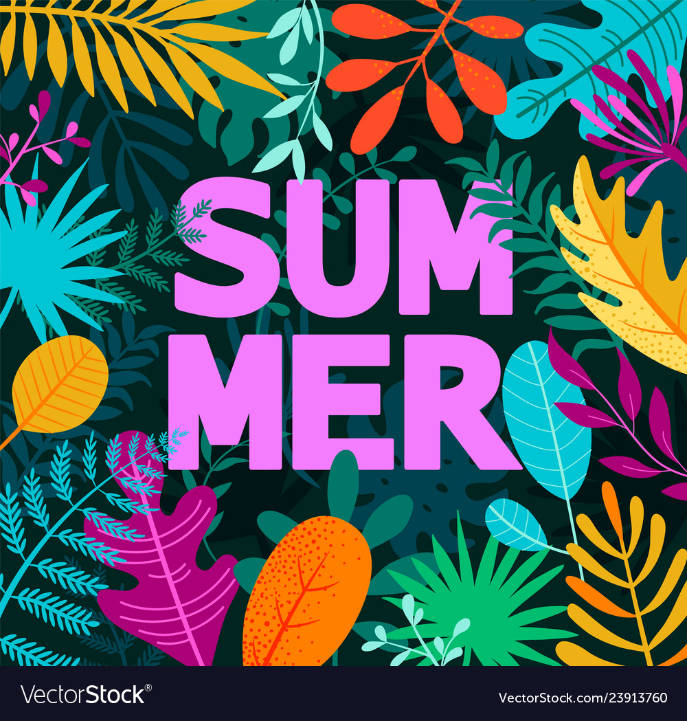 Greeting summer 2019 card on tropical leaves