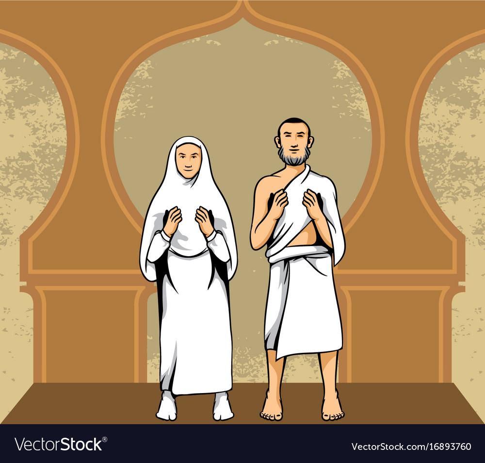 Hajj pilgrim praying vector image