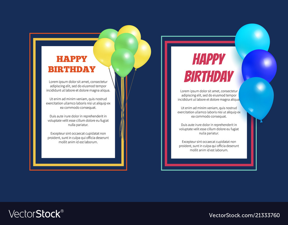 Happy birthday greeting cards square frame balloon