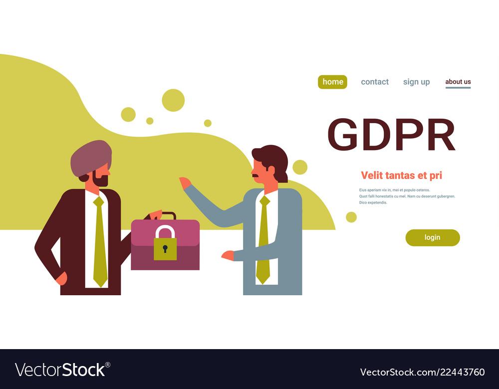 Indian businessman hold case padlock security gdpr
