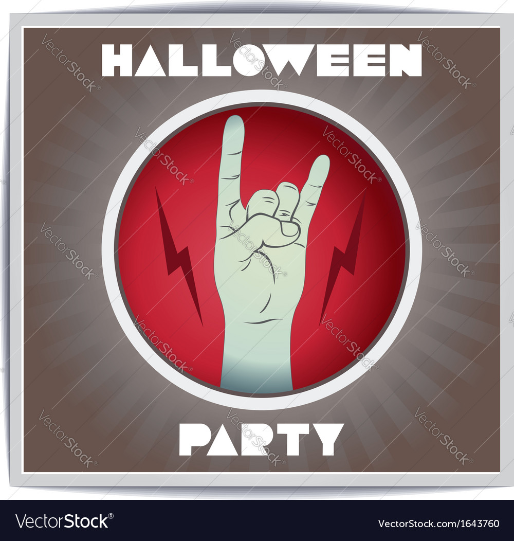 Just Halloween party poster with zombie hand