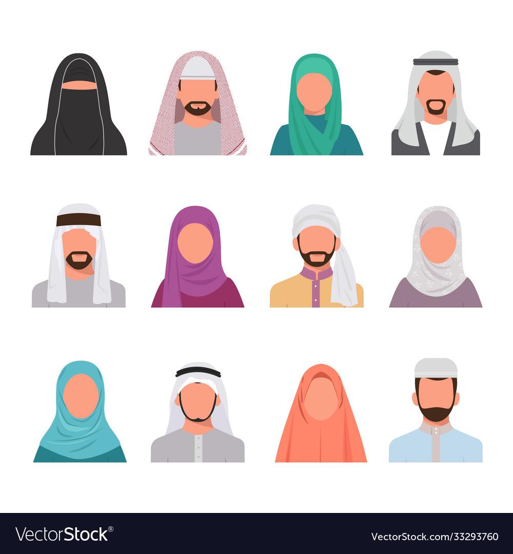 Muslim characters avatars set arabian face