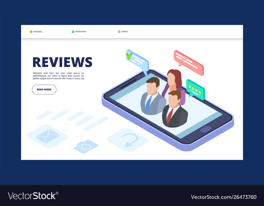 Reviews web banner template feedback landing page