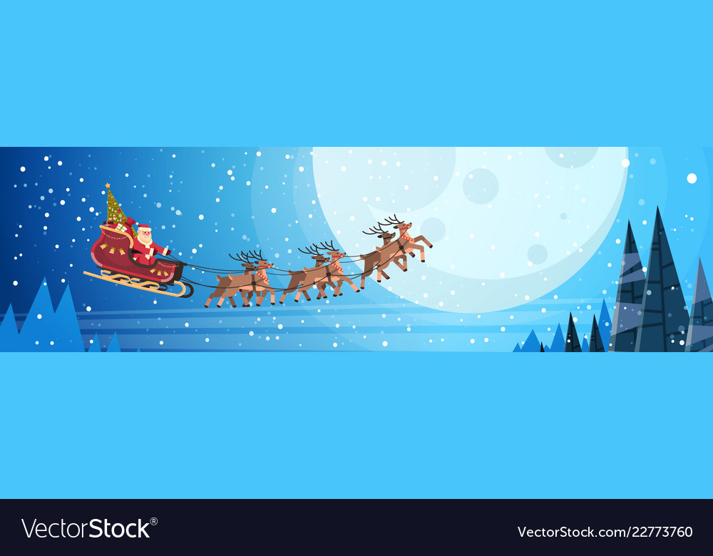 Santa claus flying in sledge with reindeers night