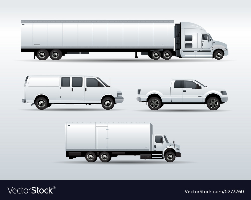 Trucks collection for transportation cargo vector image