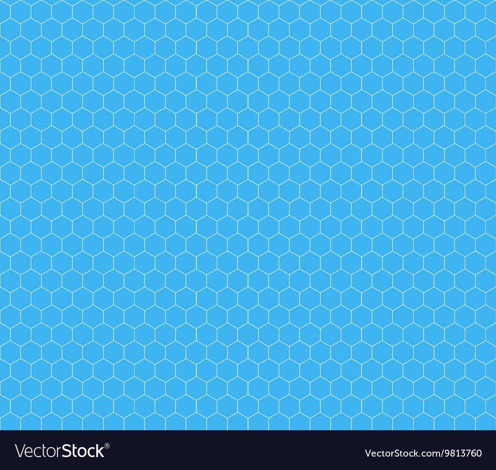 White hexagon grid on cyan seamless pattern