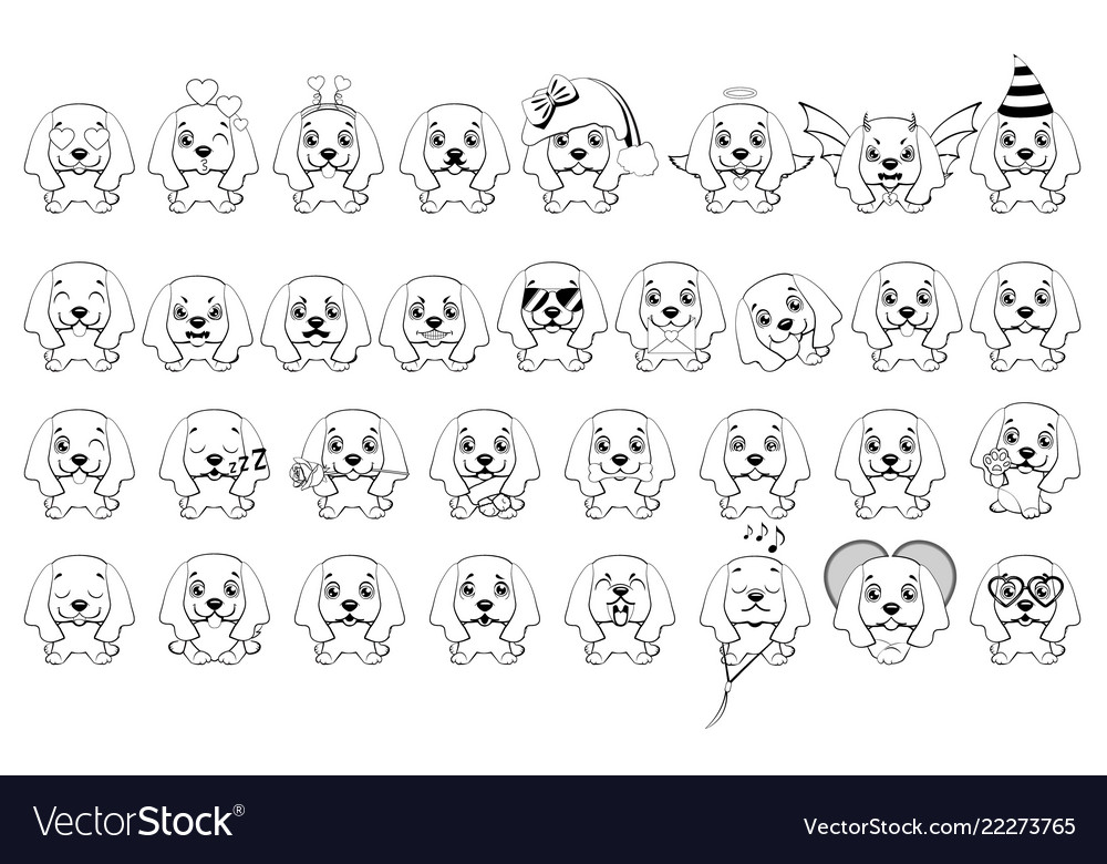Big set of little dogs with different emotions and