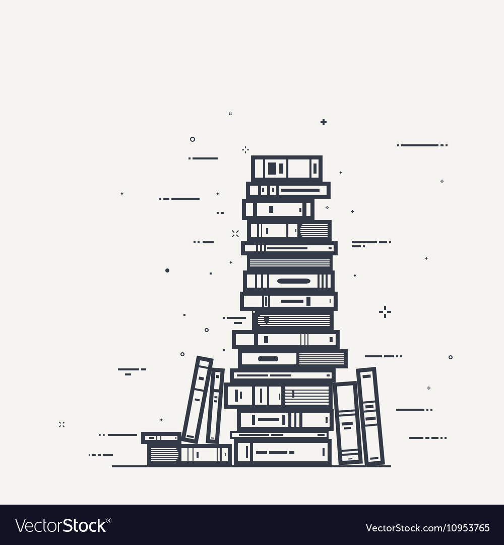Book pile line infographics