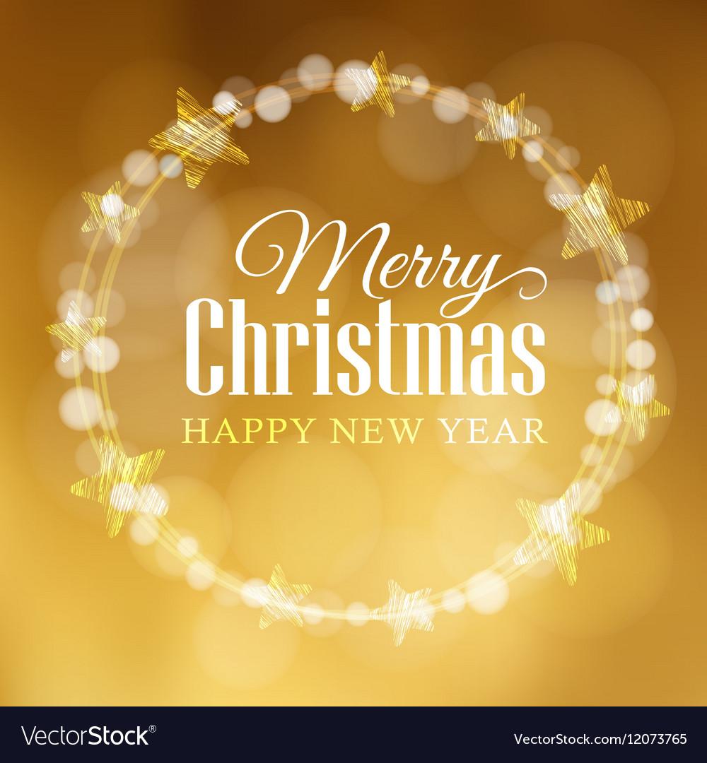 Christmas greeting card Wreath made of bokeh