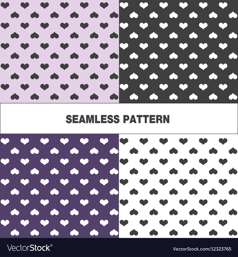 Collection of seamless pattern with hearts