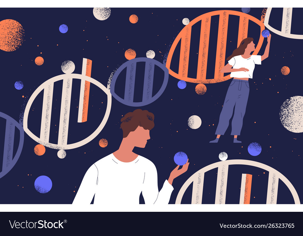 Dna molecules man and women holding genes