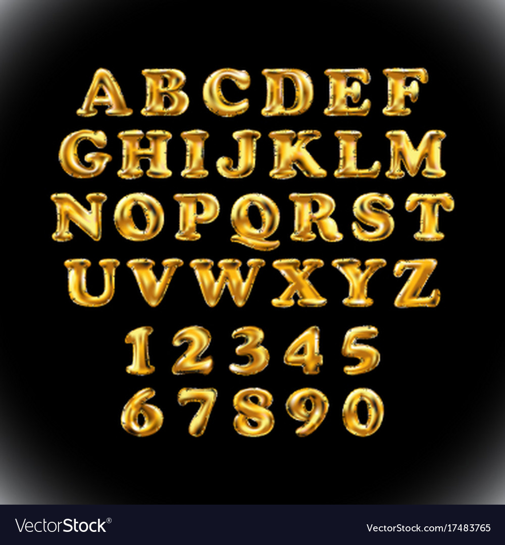 English alphabet and numerals from yellow golden