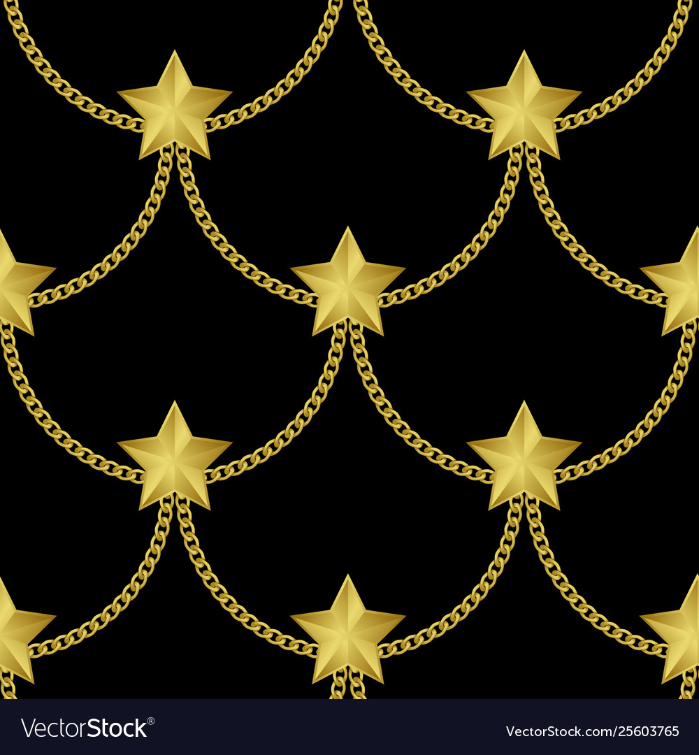 Golden chains and stars fashion seamless pattern