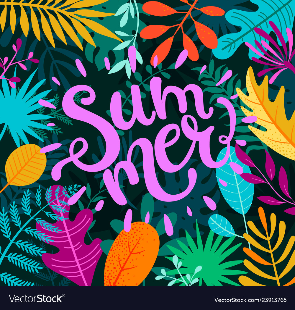 Greeting summer 2019 lettering on tropical leaves