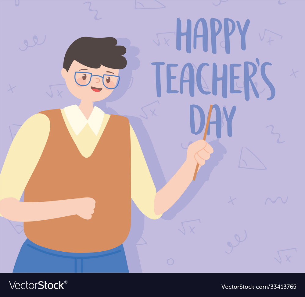 Happy teachers day male teacher with glasses