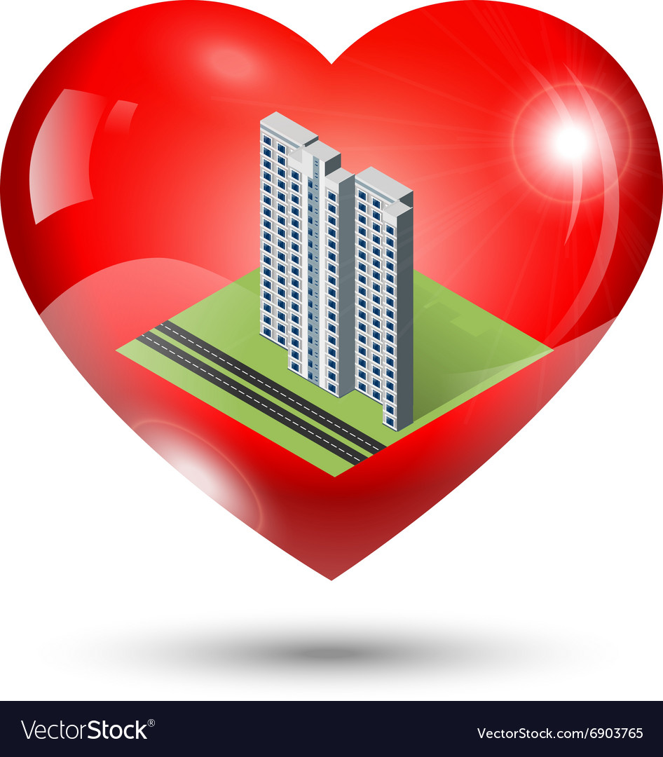 Heart Icon with isometric building inside vector image
