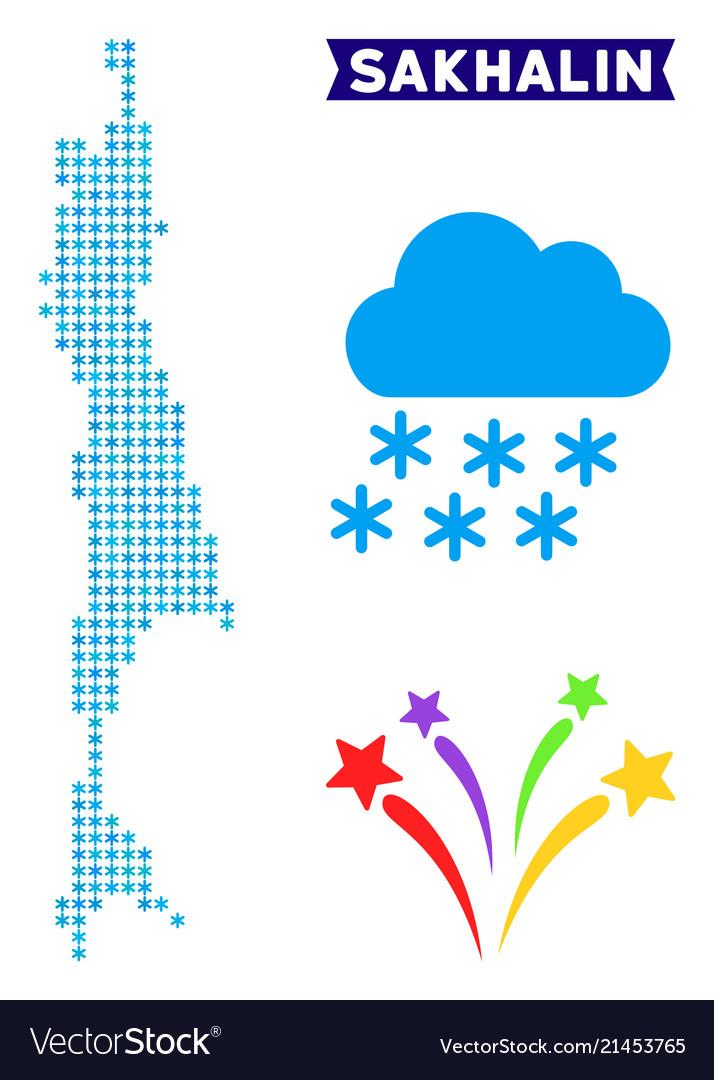 Icy sakhalin island map Royalty Free Vector Image