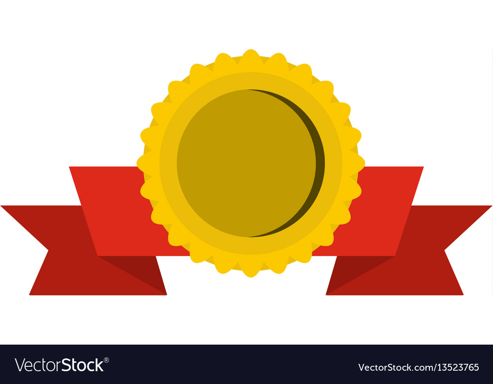Medal with ribbon icon flat style