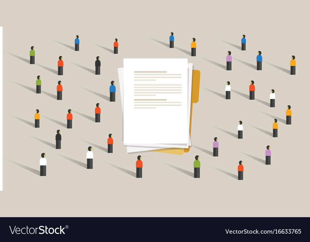 People crowd working on document together team